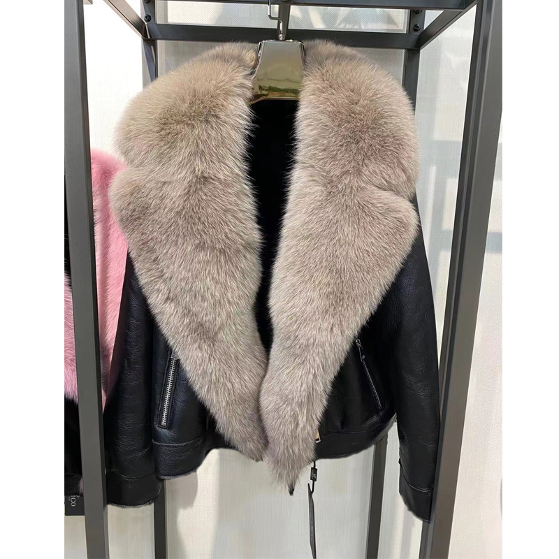 H56313d26f88f47968138fb087036ac24o Winter Real Fur Coats Natural Women High Quality Genuine Leather Jacket With Big Fox Fur Turn-down Collar Luxury Overcoats 2021