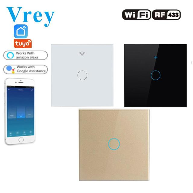 Tuya Wifi Smart Touch Switch 110V 240v Lightes Switches Alexa Echo Google Home and Suppor Remote Controlle Crystal Glass Panel