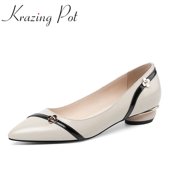 Krazing pot mixed colors genuine leather pointed toe low heels metal flower decorations noble shallow slip on summer pumps L25