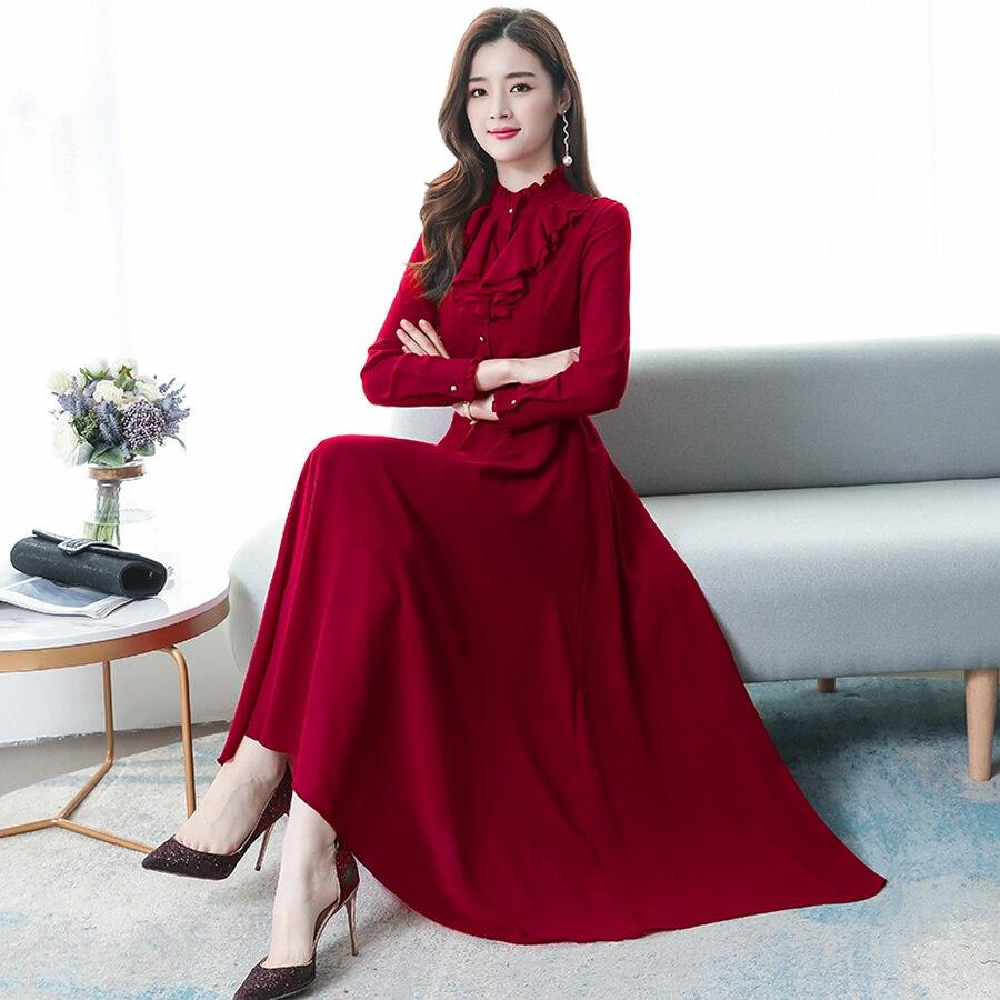 2019, винтажные однотонные шифоновые женские платья макси, Осень-зима, 3XL размера плюс, платье с длинным рукавом, элегантные женские облегающи...