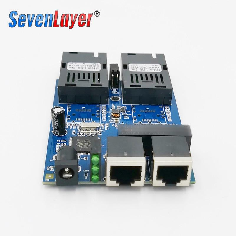 10/100/1000M Ethernet Fiber Optical  2 SC Fiber Port  2 RJ45 Media Converter Gigabit Ethernet Switch 2 RJ45 UTP Board PCB