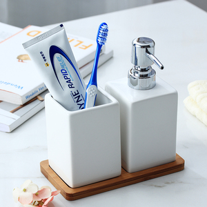 Image 3 - 320ml Ceramic Emulsion Dispenser White Black Bottle Hotel Shower Gel Hand Sanitizer Bottle with Bamboo Tray for Kitchen