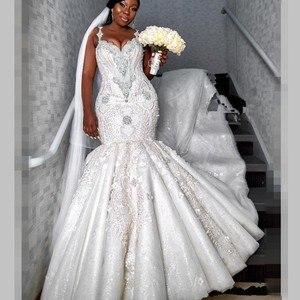 Image 3 - Lüks boncuklu Mermaid gelinlik Dubai spagetti kristal artı boyutu düğün Vestidos seksi geri afrika gelin elbise