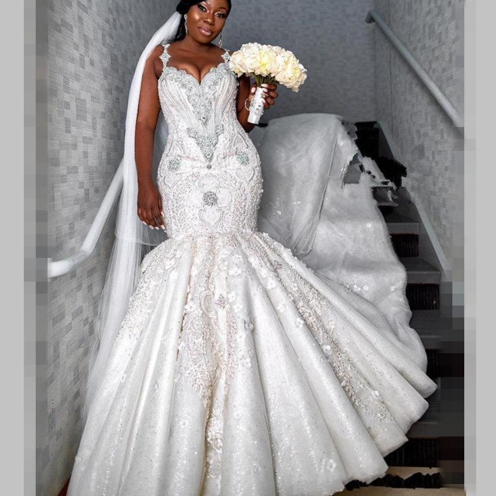 Image 3 - Luxury Beaded Mermaid Wedding Dresses Dubai Spaghetti Crystal Plus Size Wedding Vestidos Sexy Back African Bridal DressWedding Dresses   -