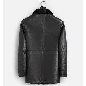 Image 4 - DK Natural Mink Fur Clothing Men Medium Long Winter Warm Leather Genuine Black Slim Sheepskin Leather Jackets