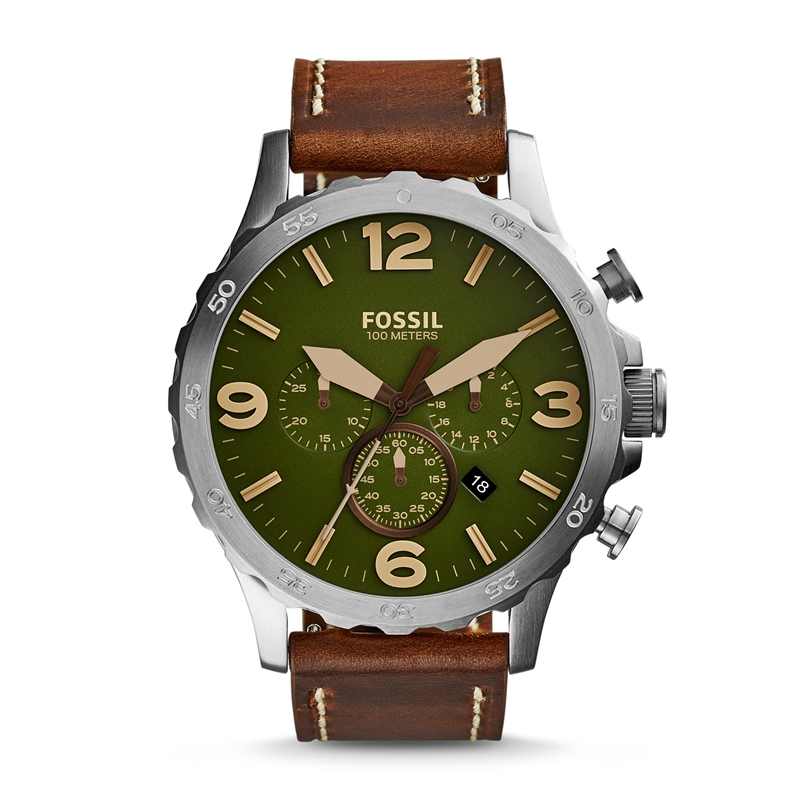 Fossil Nate Men's Chronograph Watch With Brown Leather Strap Sport Watch For Mens Watches Top Brand Luxury JR1508
