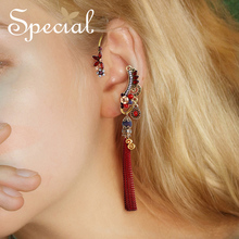 Special European and American retro earrings female long tassel ear decoration personality only no ear hole ear hanging exotic 2019 real time limited aretes tassel earrings oorbellen european and american christmas jewelry lovely for apple long ear