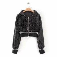 female short jacket coat spring fall Fashion sequins shiny hood jacket Three colors optional women bomber jackets 2019 W1013