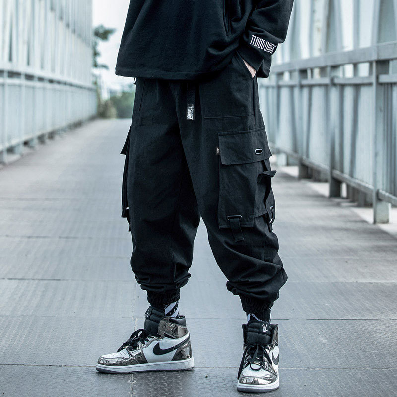 Black Cargo Pants Men Hip Hop 2020 Pants Mens Autumn Harem Pant Streetwear Harajuku Jogger Sweatpant Cotton Trousers Male Pants