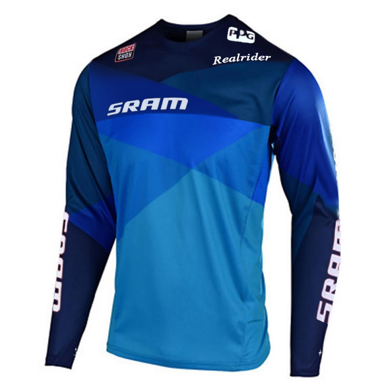 New Motorcycles Downhill Jersey MTB Enduro Offroad Larga Mountain Bike For Sram Motocross Jersey BMX DH MTB T-Shirt