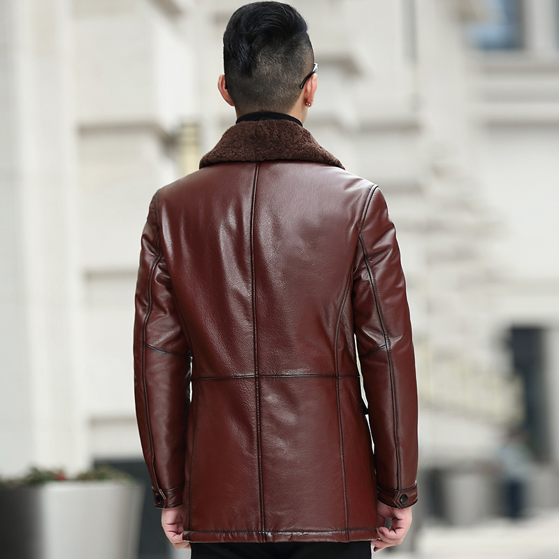Genuine Cow Leather Jacket Men Autumn Winter Down Coat Male Wool Collar Brown Cowhide Leather Jackets And Coats KJ1383