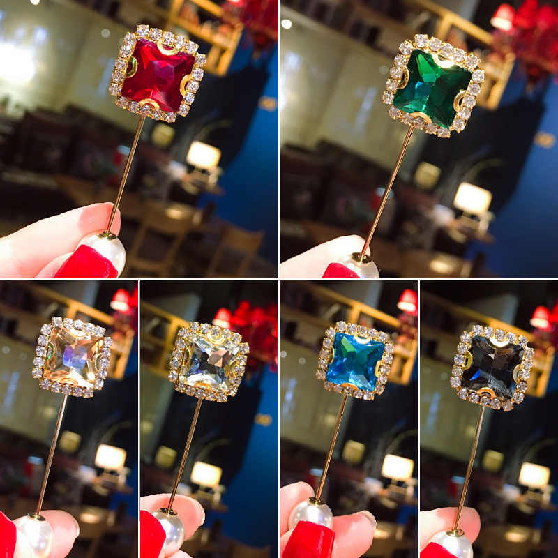 Broche de circonio geométrico para mujer perla de temperamento Pin de cristal gota de agua hebilla de broche accesorios de ropa de moda Pin