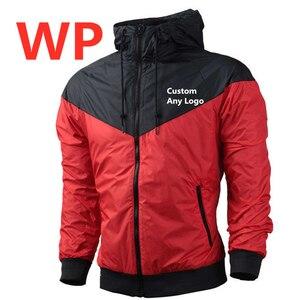 WP Любой пользовательский логотип мужская куртка ветровка мужская молния пэчворк водонепроницаемые куртки Мужская Уличная Осенняя верхняя одежда в категории «бомбер» Топы