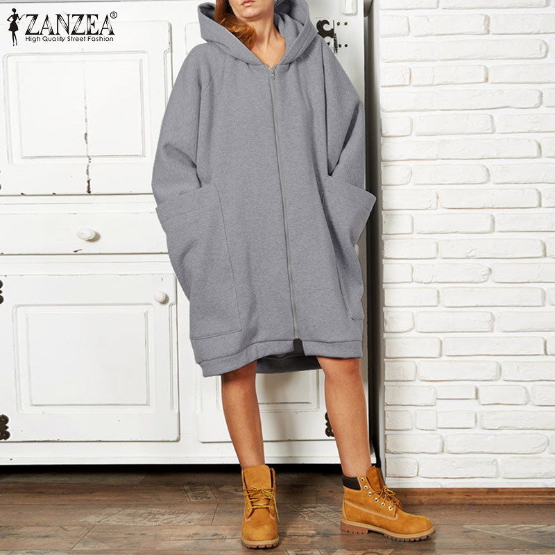 ZANZEA Plus Size 5XL Women's Sweatshirt Casual Hoodies Winter Female Long Sleeve Coats Big Pockets Sweatshirts Zipper Up Outwear