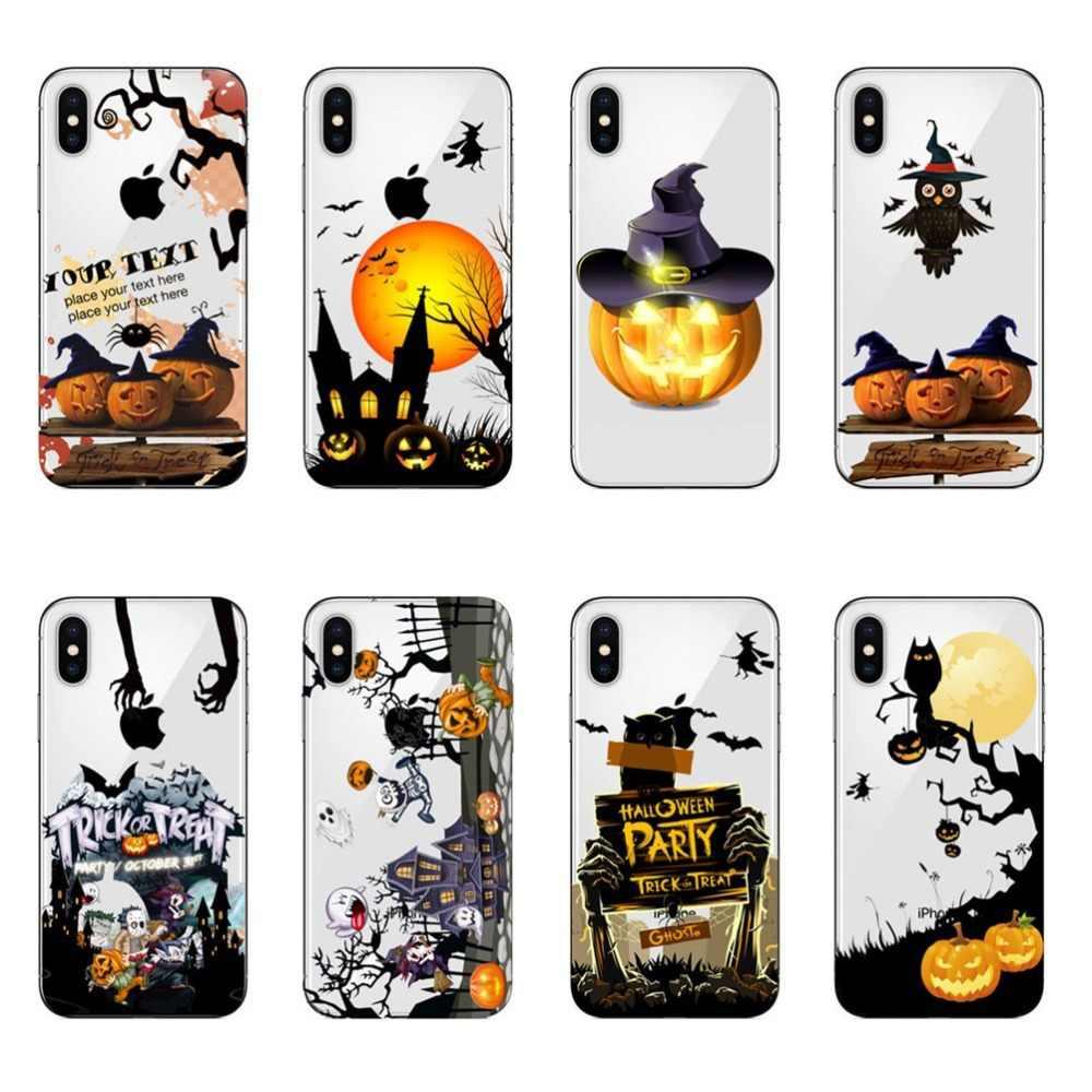 Bí Ngô Halloween Bát Phù Thủy con cú Dành Cho iPhone XS MAX XR 6 6 S 5 5S SE 7 8 plus Silicone Trong Suốt Bao Bọc Điện Thoại Coque