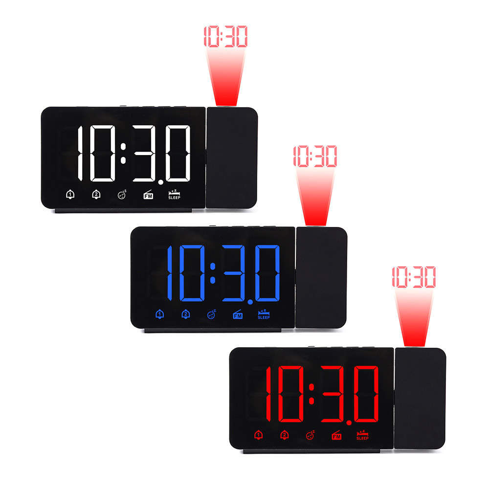 Projection Alarm Clock Digital Alarm Clock With Snooze FM Function LED Display Electronic Clock For Bedroom Office(China)