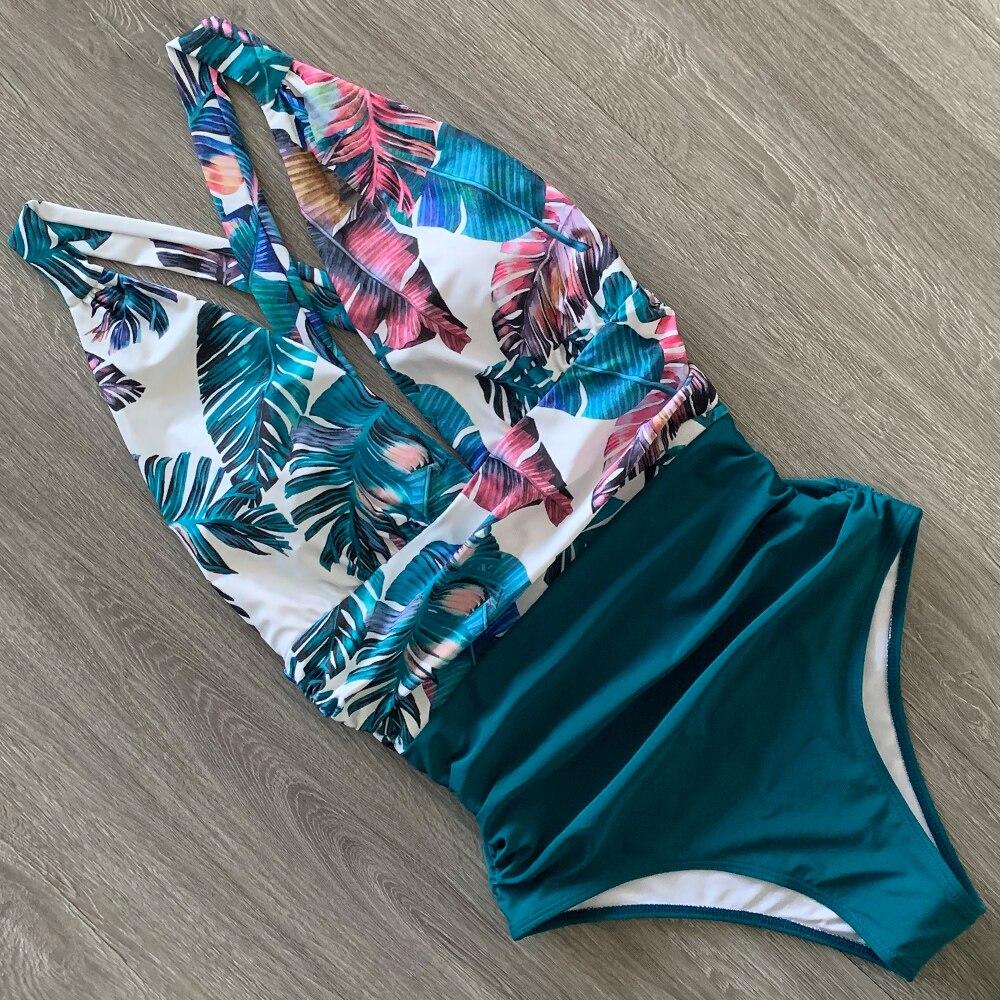 2020 Sexy One Piece Swimsuit Female Floral Women Swimwear Push Up Bathing Suits Bodysuits Beach wear Deep V-neck Ruffle Monokini-2