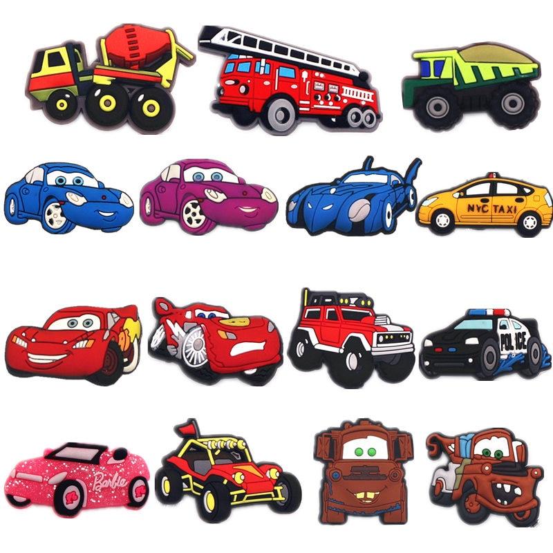 High Imitation Cars Model Shoe Charms Accessories Original Batmobile/Racing/Train Shoe Decoration For Jibz Kids Party X-mas Gift