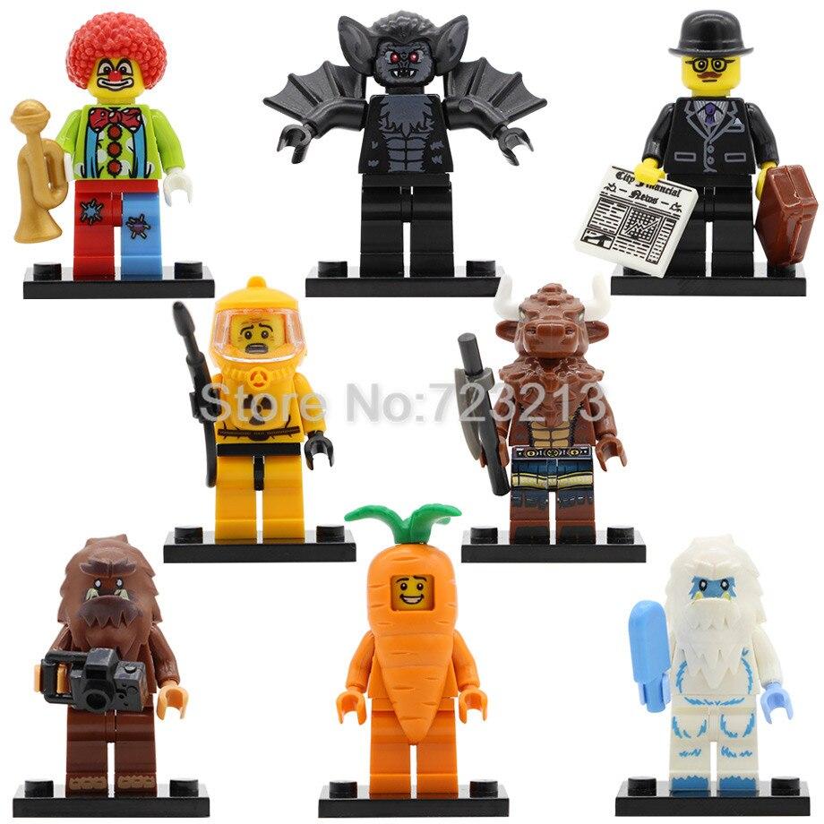 Clown Snow Carrot Tauren Vampire Bat Man Figure Graduate Single Sale Nuclear Workers Bigfoot Building Blocks Bricks Toys Legoing