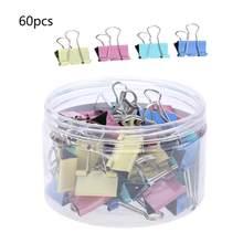 Clipes encadernadores de metal coloridos, 60, pçs/lote e 15mm, papelaria de escritório, material de papelaria, clipe de aço inoxidável