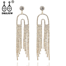 DREJEW Gold Silver U Shaped Magnet Statement Earrings Long Tassel Rhinestone Drop Sets for Women Wedding Jewelry HE557