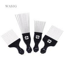 Uso do salão de beleza preto metal americano africano picareta penteados cabelo afro pente para cabeleireiro estilo ferramenta