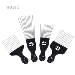 Salon Use Black Metal African American Pick Hair Combs Afro Hair Comb For Hairdressing Styling Tool