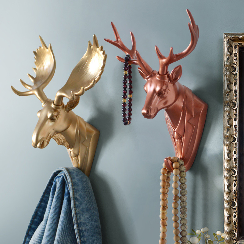 Hook Home Multifunctional Decorative Hook Resin Animal Head Crafts Personality Deer Head Elephant Wall Hanging Door Coat Hook