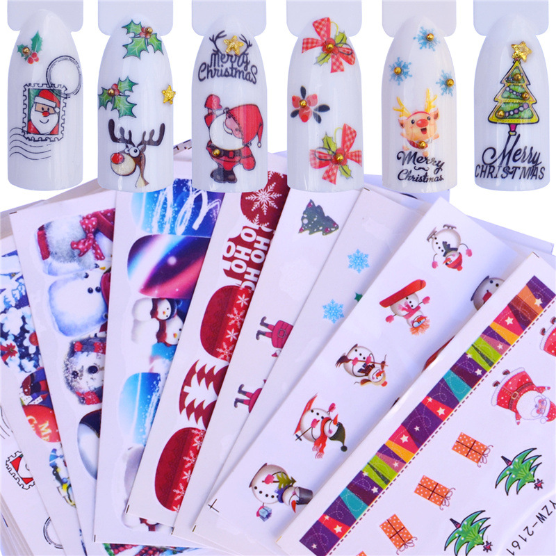 Manufacturers Currently Available Supply Water Transfer Nail Sticker Christmas-Manicure Stickers Nail Ornament AliExpress Hot Se
