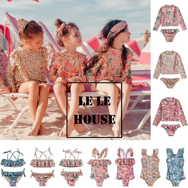 LELE HOUSE  2020 Spring and Summer New LM Series National Wind Quick-drying Sunscreen Split Swimsuit