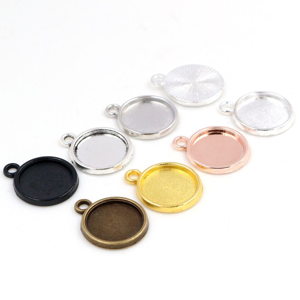 20pcs 12mm Inner Size Rhodium Gold Black Silver Bronze Color Simple Style Cabochon Base Cameo Setting Charms Pendant