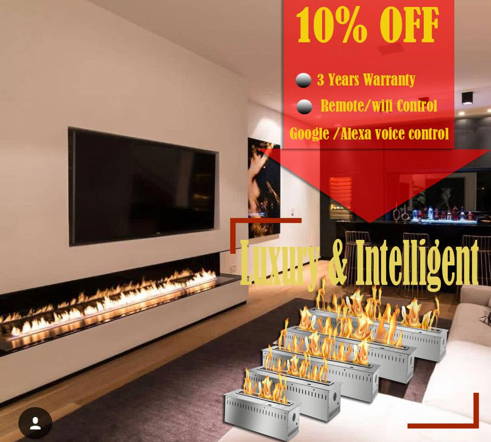 On Sale 60 Wifi Real Fire Indoor Intelligent Smart Wall Fire Ethanol Indoor Fireplace