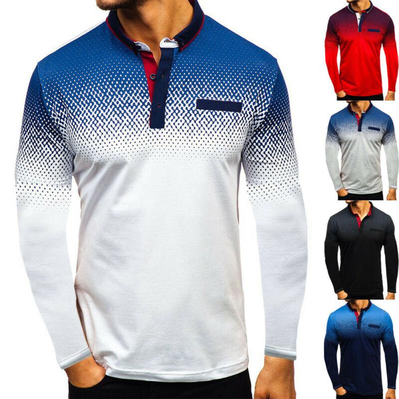 Men's Fashion Shirt Long Sleeve Quick-Dry Sports Tee Cotton Plain T-Shirt Tops