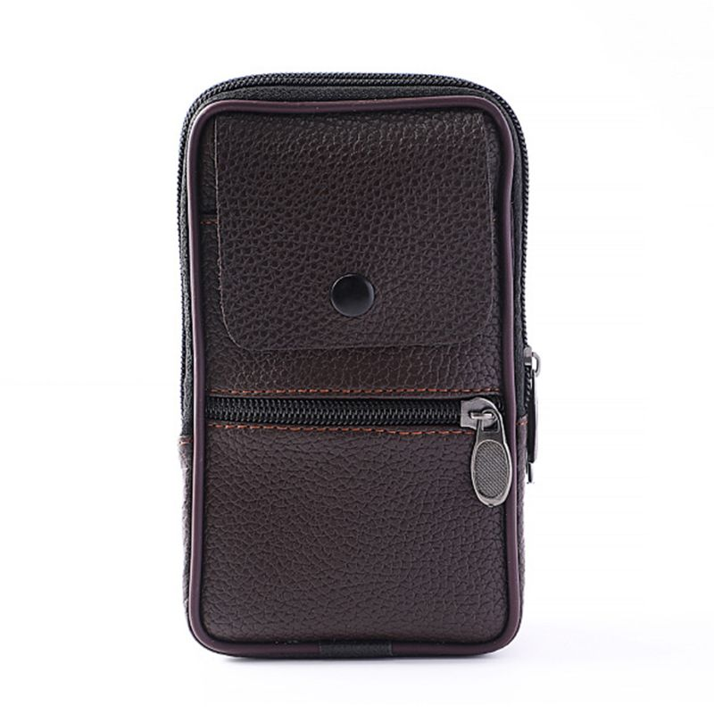 Outdoor Fashion Vertical PU Leather Man Waist Pack Portable Zip Coin Purse Phone Bag Fanny Pack Pocket Mini Belt Waist Bags