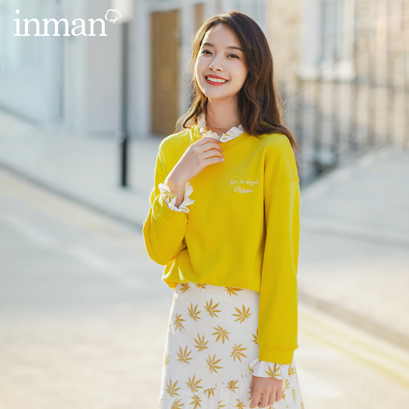 INMAN Spring New Arrival Fake Two Pieces Candy Color Flower Collar Off Shoulder Loose Style Women Sweatshirt