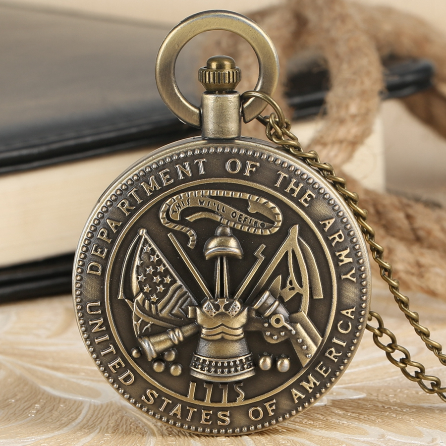 The United State Of America Department Of The Army Quartz Pocket Watch Retro Necklace Pendant Chain Clock Gifts For Men Women