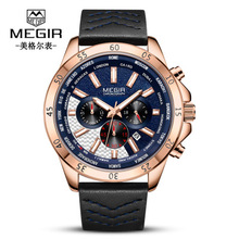 MEGIR Mens Watches Top Brand Luxury Waterproof 24 hour Date Quartz Watch Man Leather Sport Wrist Watch Men Waterproof Clock big dial watches men hour mens watches top brand luxury quartz watch man leather sport wrist watch clock alloy strap