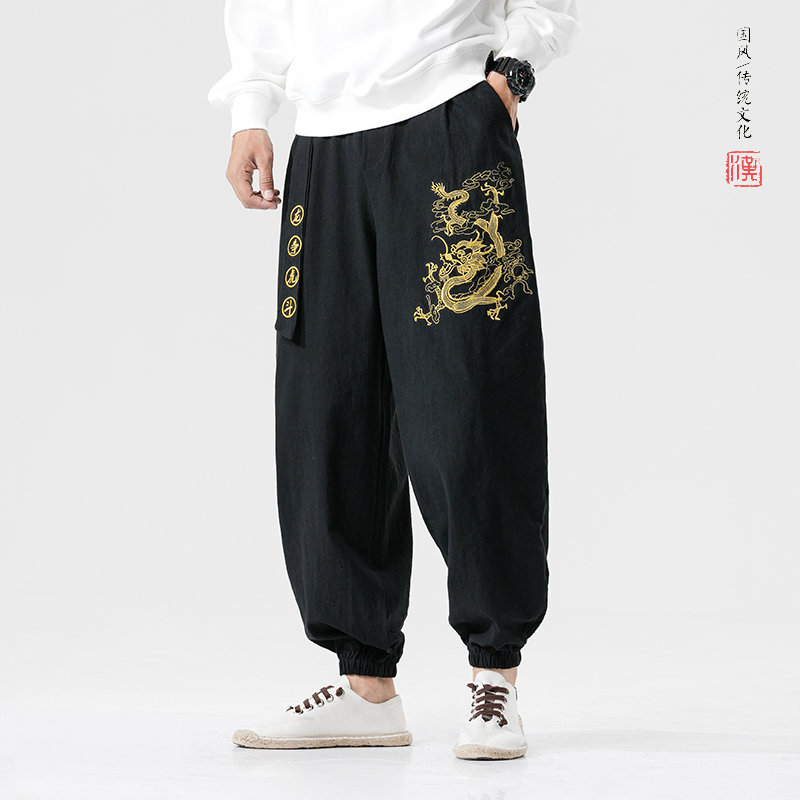 MRDONOO Chinese Style Dragon Embroidery Casual Harem Pants Wide leg Joggers Trousers With Belt Loose Ankle Banded Pants Male