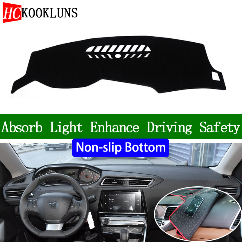 For Peugeot 308 2016 2017 2018 2019 Non-slip Bottom Dashboard Cover Car Decals Car Stickers Interior Car Accessories