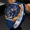 LIGE Модные мужские s часы лучший бренд Роскошные часы наручные  кварцевые часы синие часы мужские водонепроницаемые спортивные хронограф ...