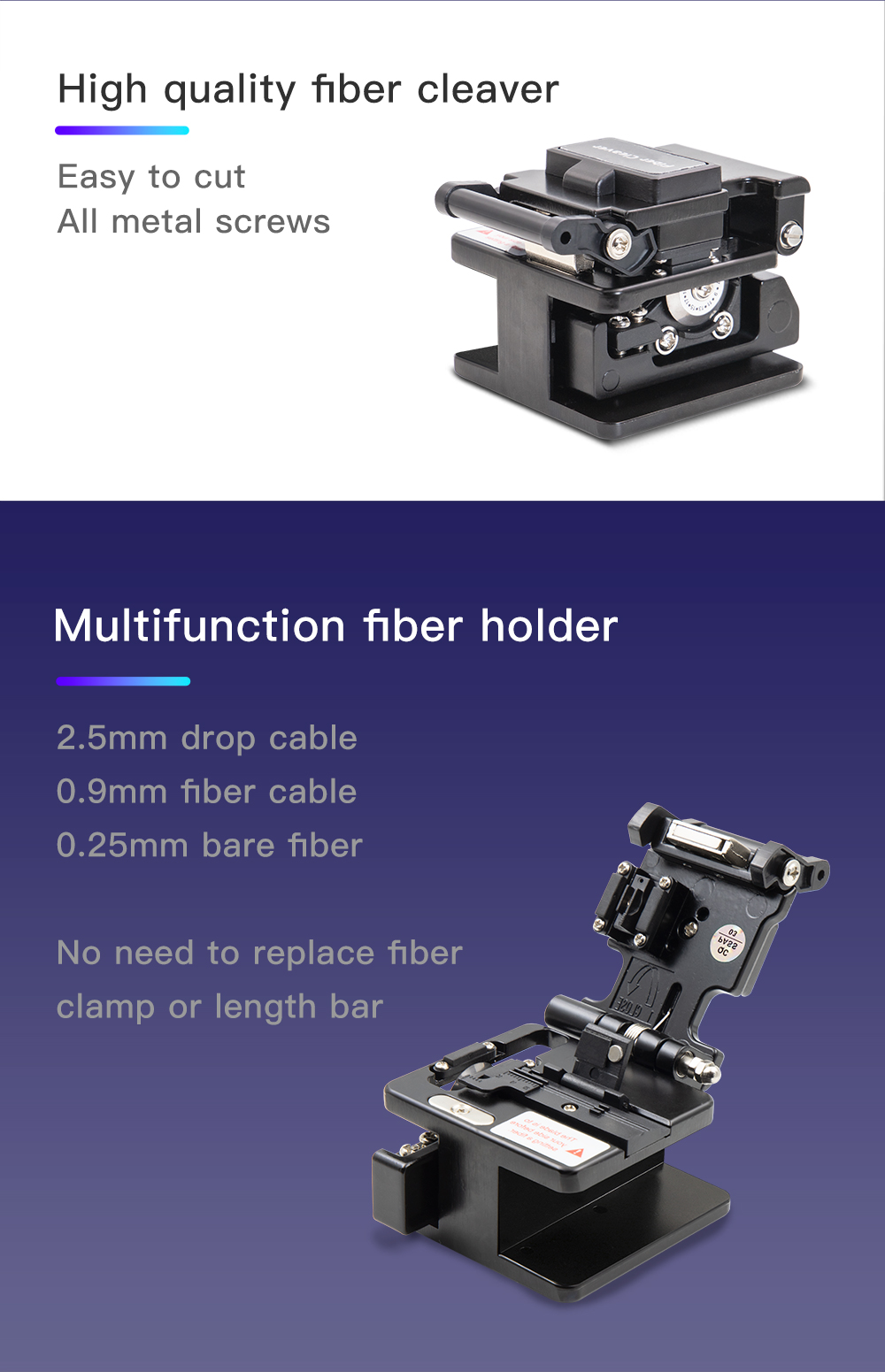 FTTH Fiber Cleaver FC-6S Metal Material with 12 Surface Blade Cutting Tool Optical Cutting Knife