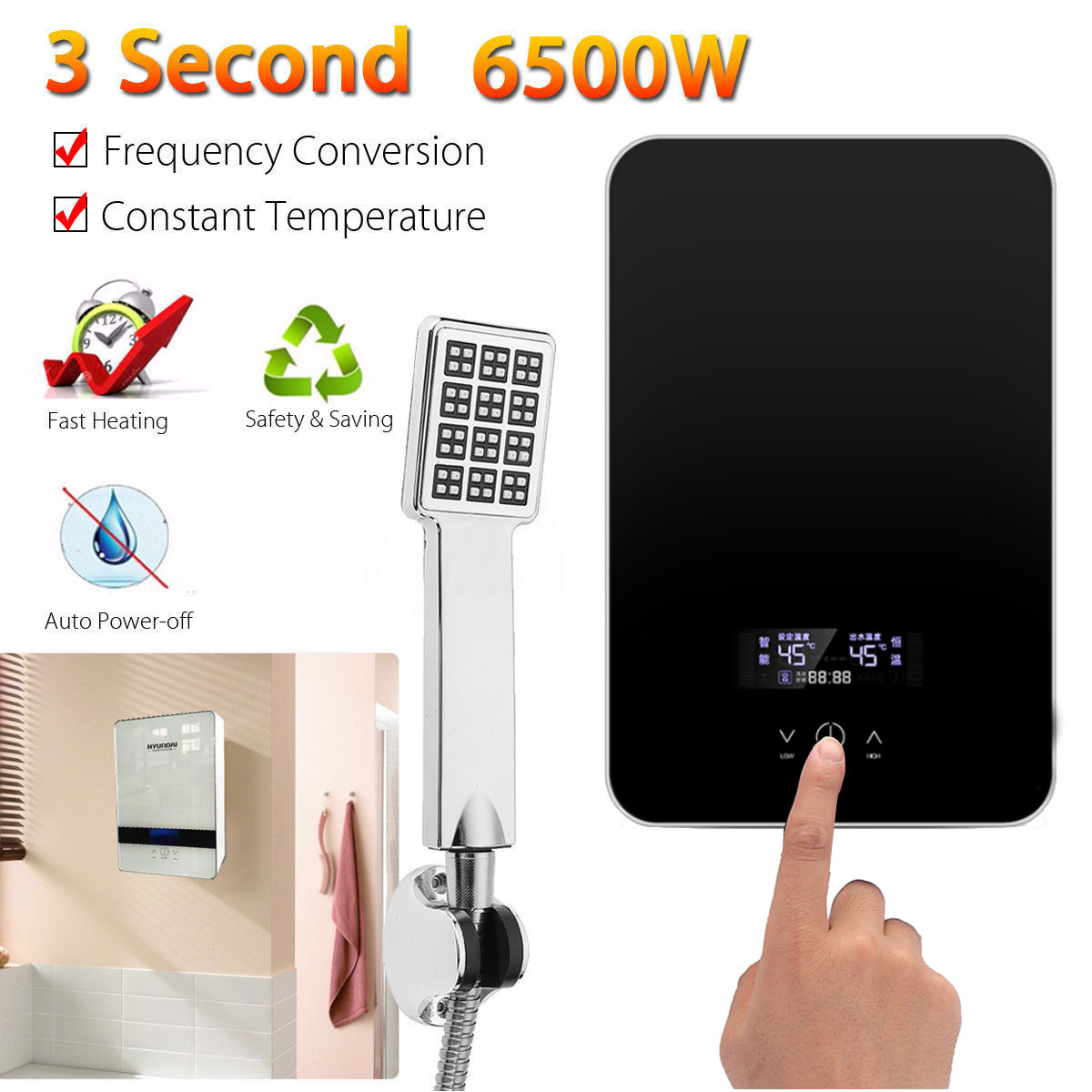 Hot Sales Electric Hot Water Heater Instant Heating 220V 6500W Overheating Protection Constant Temperature With Shower Nozzle