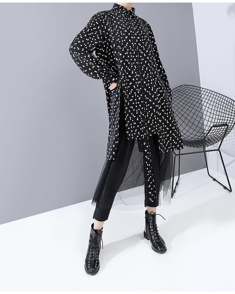 New Fashion Style Dot Mesh Split Joint Shirt Dress Fashion Nova Clothing