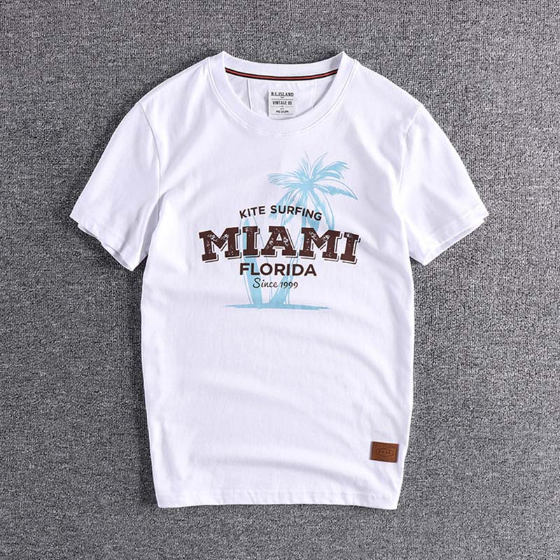 2020 New Style Coconut Printing High Quality European And American Trend Young Men's Round Neck Short Sleeve T-shirt Wholesale T