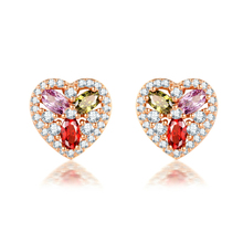New Listing Ladies Earrings Fashion Jewelry Heart-shaped Inlaid AAA Zircon Color Gift