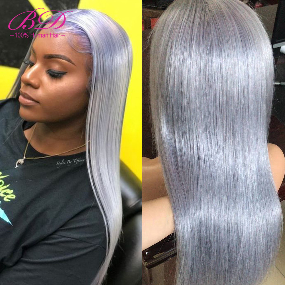 BD 13x6 Gray Lace Front Human Hair Wigs Long Straight Brazilian Remy Hair Bob Wig Pre Plucked With Baby Hair For Black Women