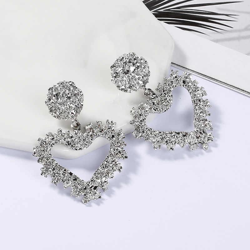 Vintage Metal ZA Earrings Gold/Silver Big Size Heart Pendant Statement Dangle Earrings For Women Retro Indian Jewelry Wholesale
