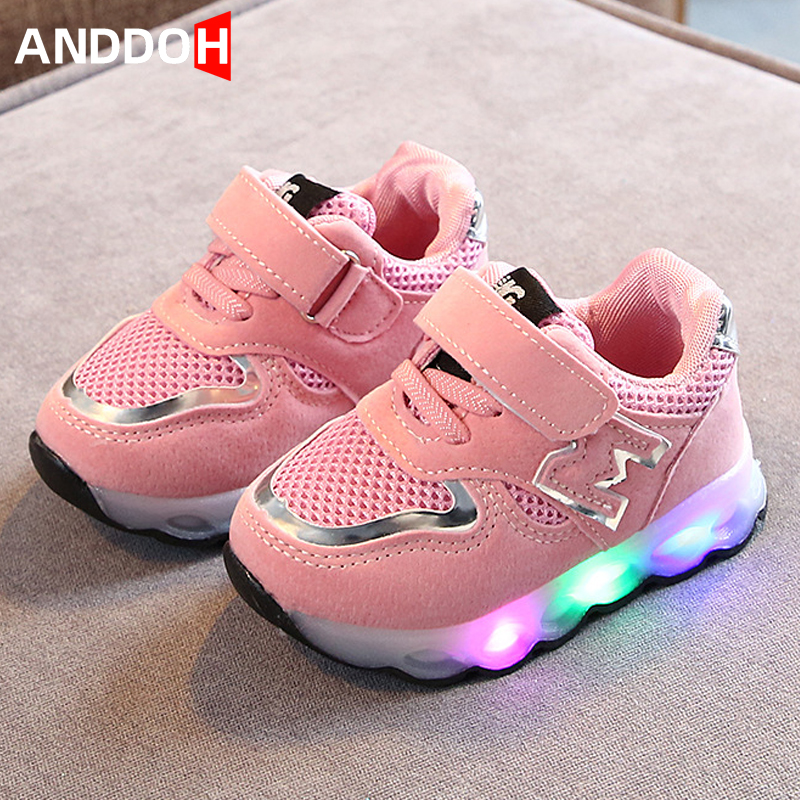 Size 21-30 Children's Luminous Sneakers With Lights Kids Shoes For Girls Sneakers For Baby Backlight Hook Loop Led Light Shoes