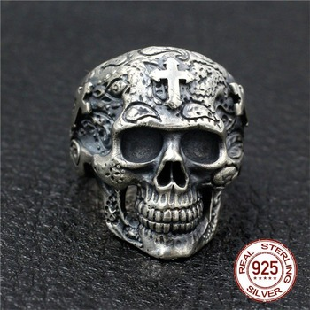New 100% S925 Sterling silver skull ring man Thai silver men's ring handmade cross ghost head male models domineering Jewelry
