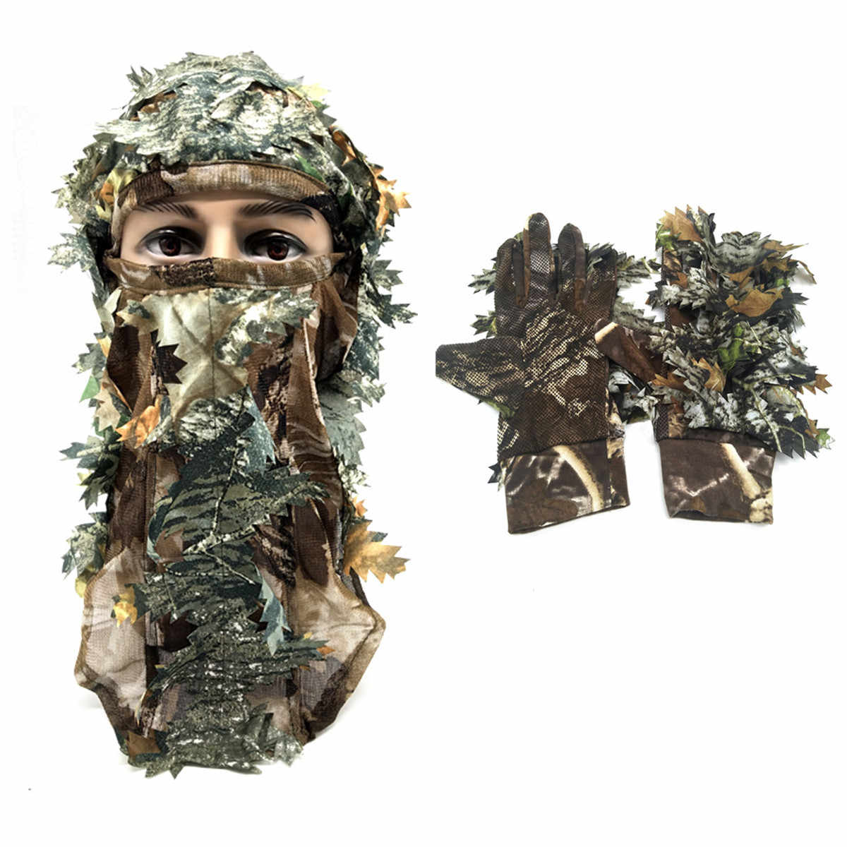 Fishing Hunting 3D Leaf Gloves Full Face Camouflage Mask Keep Warm Hunting Camping Cycling Outdoor Sport Jungle Hiking